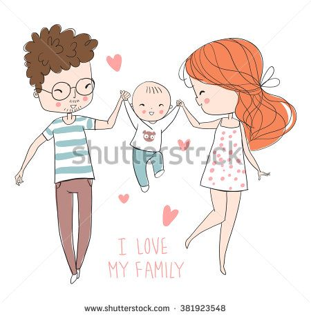 Happy Family Father Mother Baby Family Drawing Family Illustration Baby Drawing
