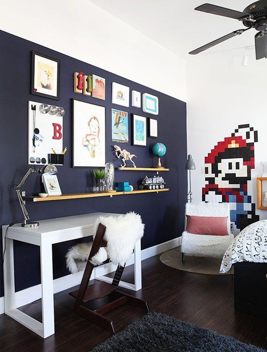 A touch of drama black navy accent walls in kids rooms for Boys room accent wall