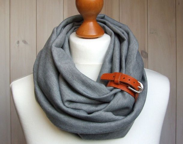 INFINITY Scarf in GRAY Infinity circle Loop with leather cuff, infinity scarves. $32.90, via Etsy.