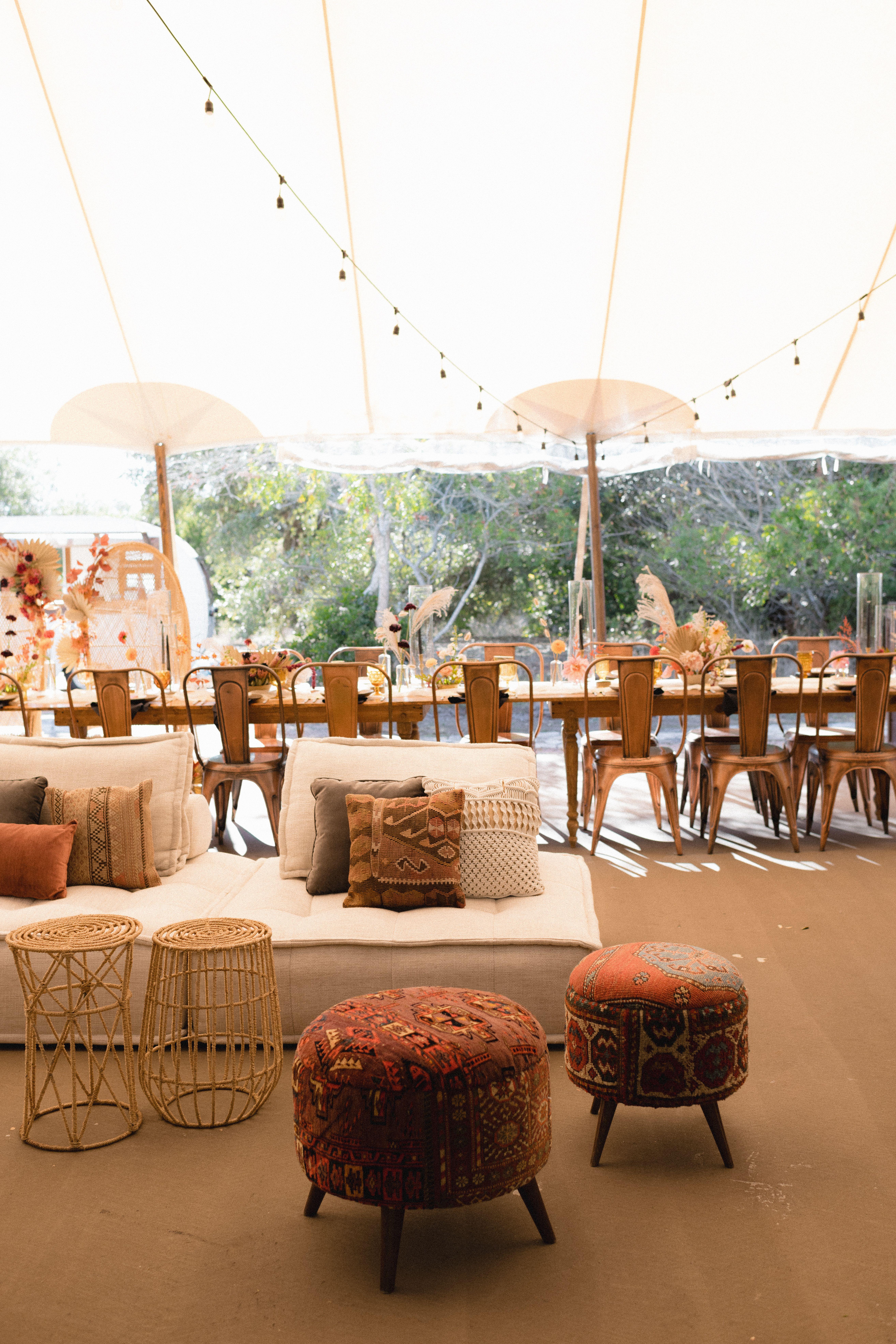 Boho spring wedding furniture rentals by loot in austin