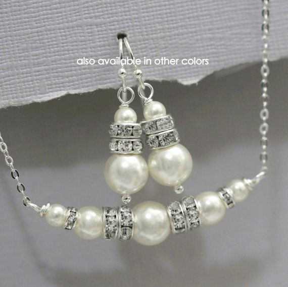 Mother Of The Groom Jewelry Ivory Pearl Bridal Set Bridesmaid Gift Swarovski
