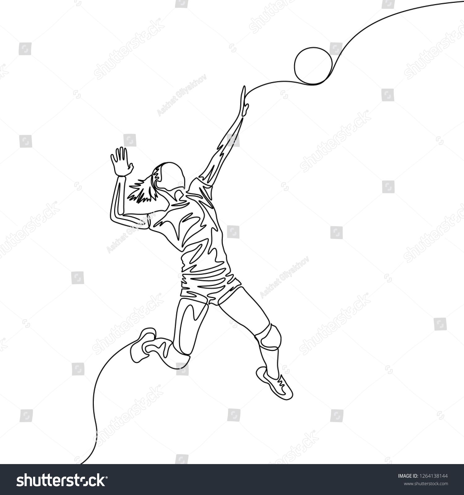Continuous One Line Volleyball Player Woman Jumps To Throw The Ball Volleyball Theme Sport Line Art Drawings Volleyball Drawing Drawings