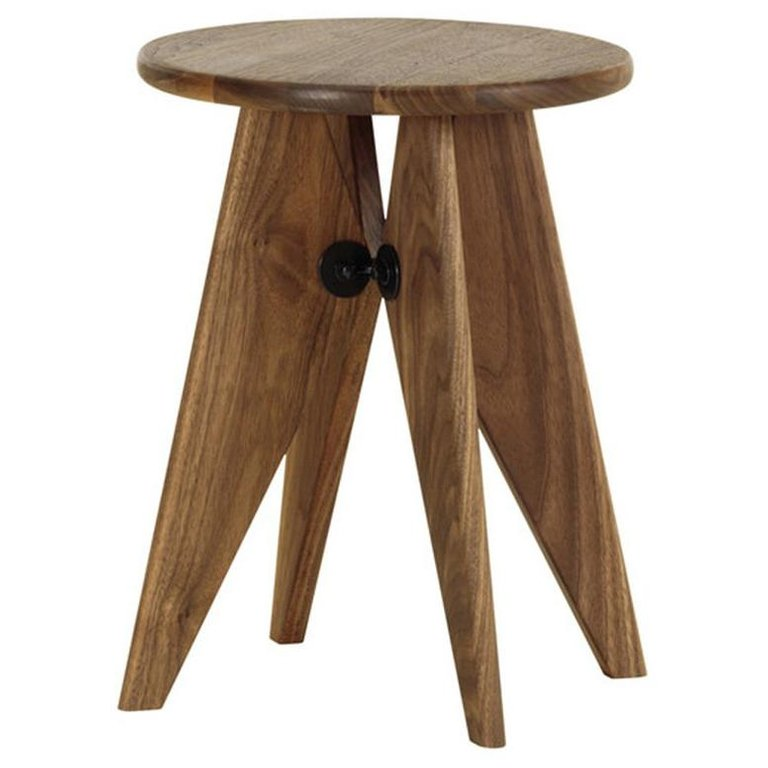 Photo of Jean Prouvé Tabouret / Stool Solvay in solid American Walnut by Vitra