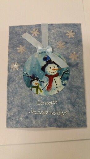 Vanhasta joulukortista leikattu
