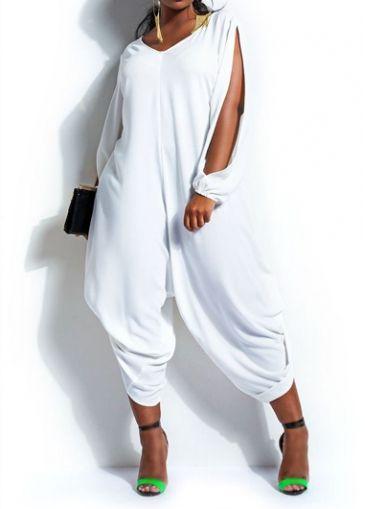 White Long Slit Sleeve V Neck Loose Jumpsuit on sale only US$23.92 now, buy cheap White Long Slit Sleeve V Neck Loose Jumpsuit at modlily.com