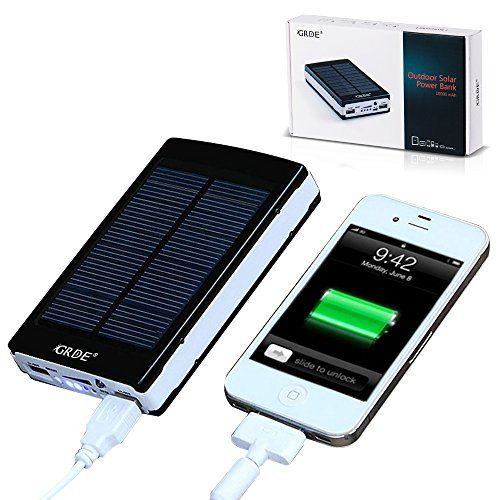 $19 on Amazon  GRDE® 10000mAh Solar Charger Portable Dual