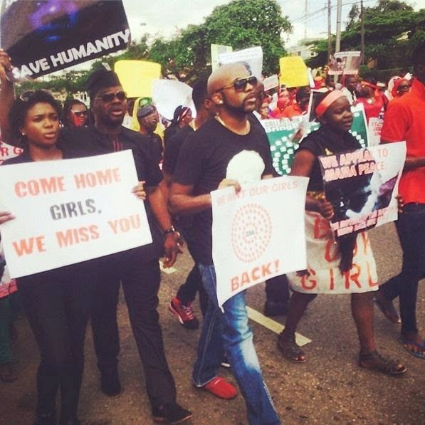 Banky W Sasha P Waje Others In Lagos Protest Bringbackourgirls Bring Back Our Girls Entertainment Magazine Lagos