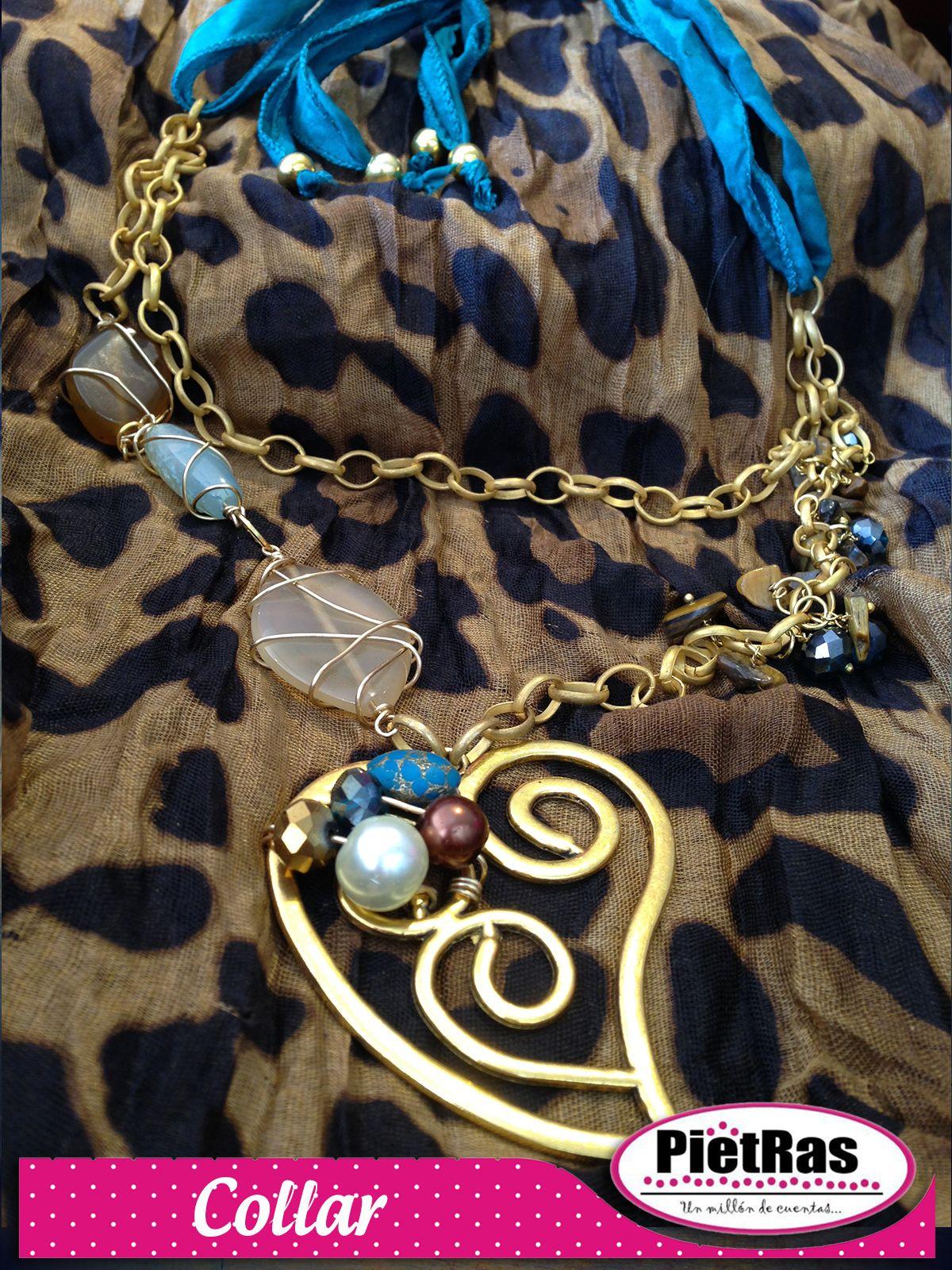 Hermoso collar con dije en corazón, cristales, turquesina, cadena y seda, ¿Bonita idea no creen?