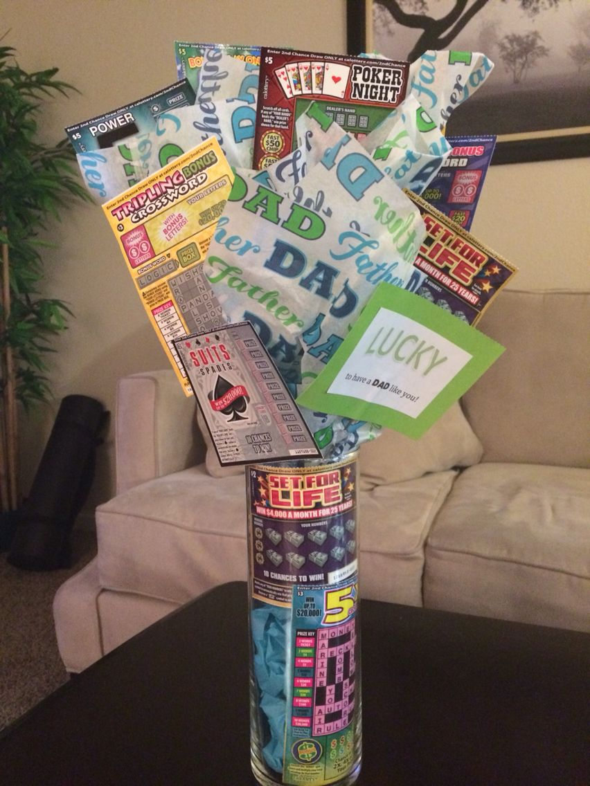Lottery scratchers gift idea; Lucky to have a dad like you