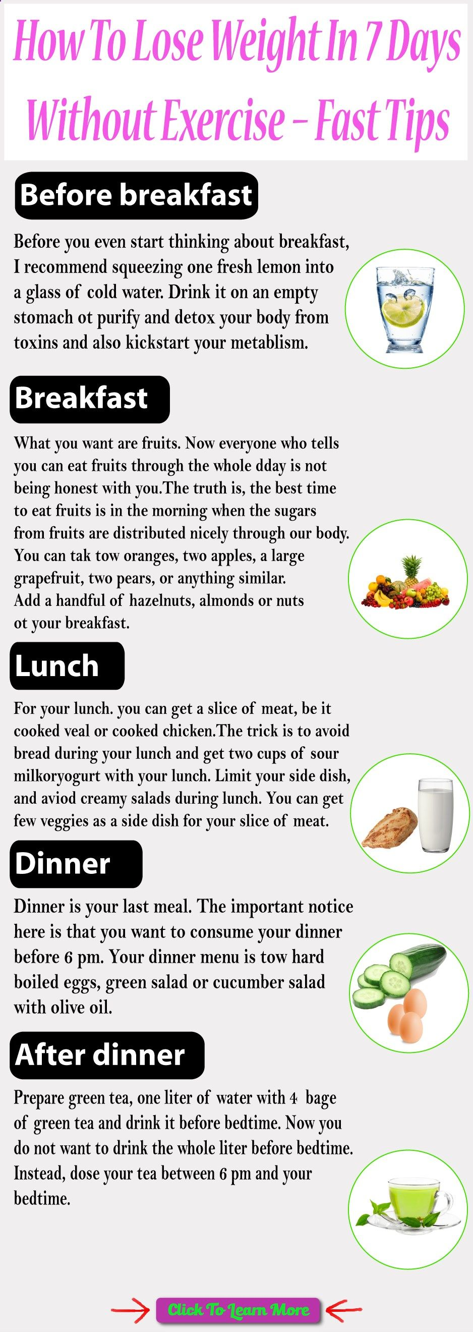 Weight loss is not an easy task if you dont have a strong determination, find the best tips on How To Lose Weight In 7 Days Without Exercise #health #fitness #weightloss #healthyrecipes #weightlossrecipes