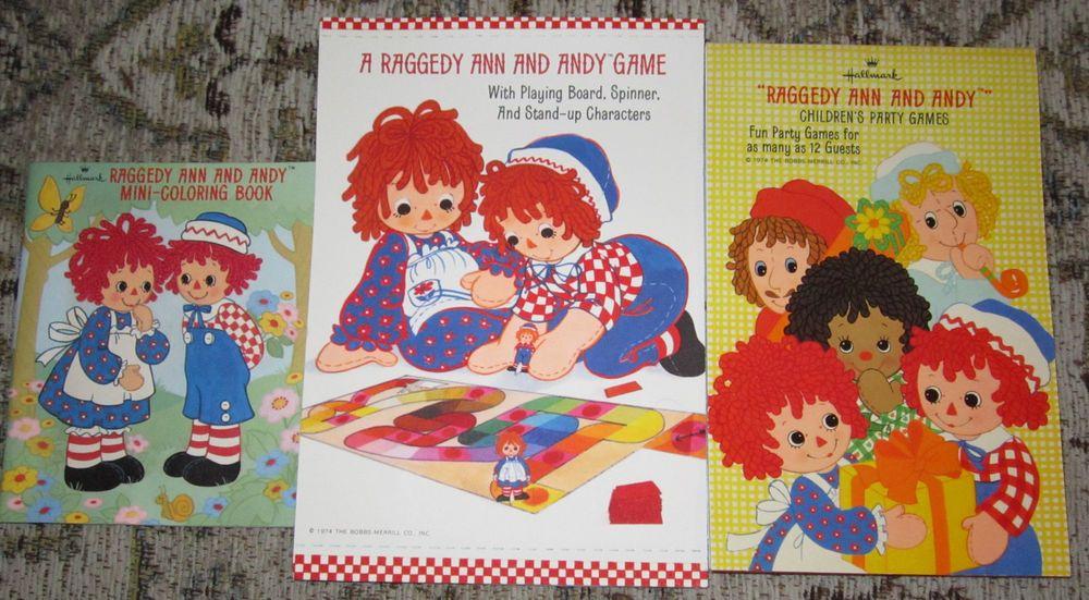 LOT VTG RAGGEDY ANN ANDY HALLMARK Bobbs-Merrill BOARD PARTY GAMES COLORING BOOK #Hallmark