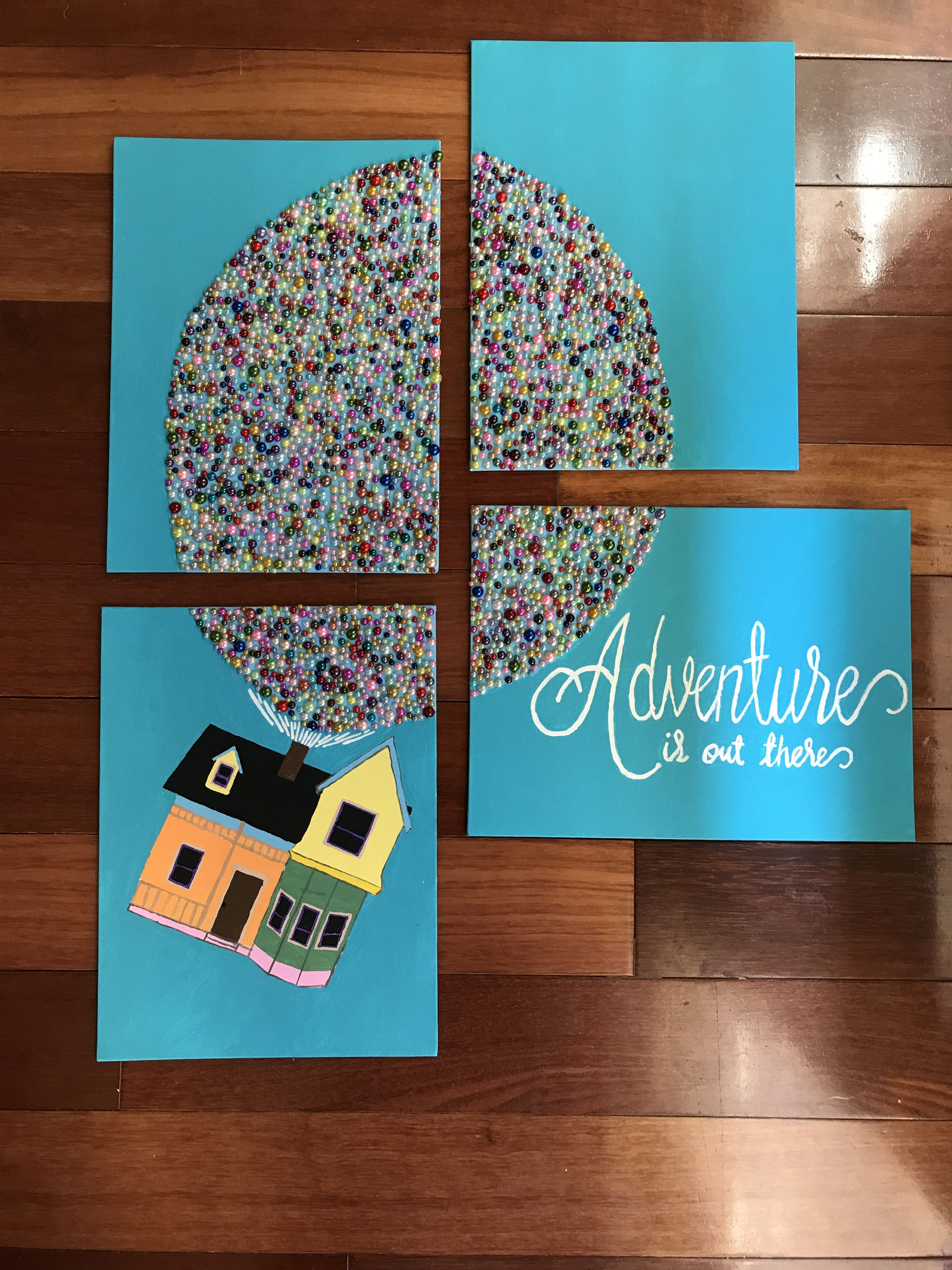 Adventure Is Out There Up House Acrylic Painting And Faux Pearl Cabochons For Balloons 9 X 12 Canvas Balloon Painting Rainbow Wall Art Crafts