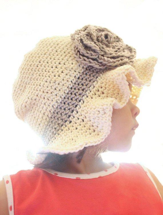 bf58ae24d6e 0 to 3m Summer Sun Hat Grey Rose Flower Hat Newborn Baby Gift ...