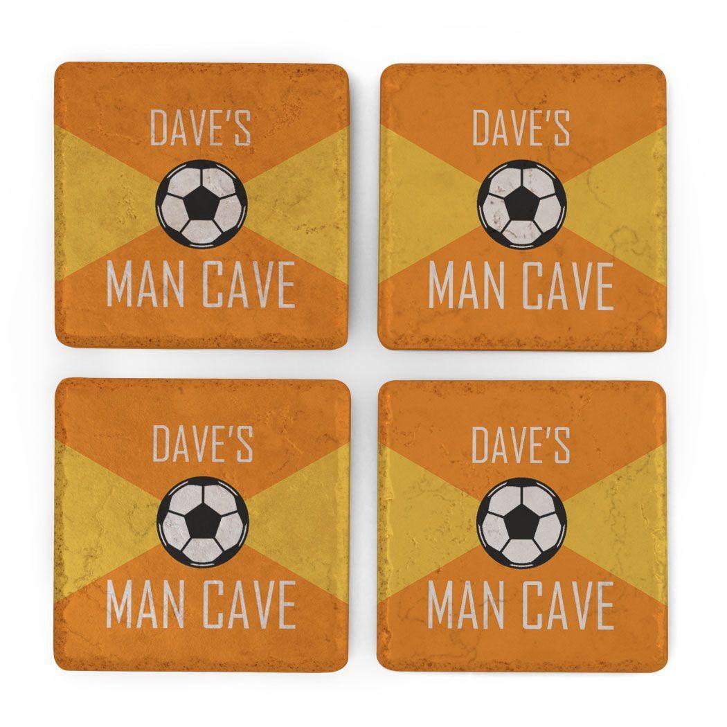 Soccer Stone Coasters Set of Four - Man Cave #mancavegarage