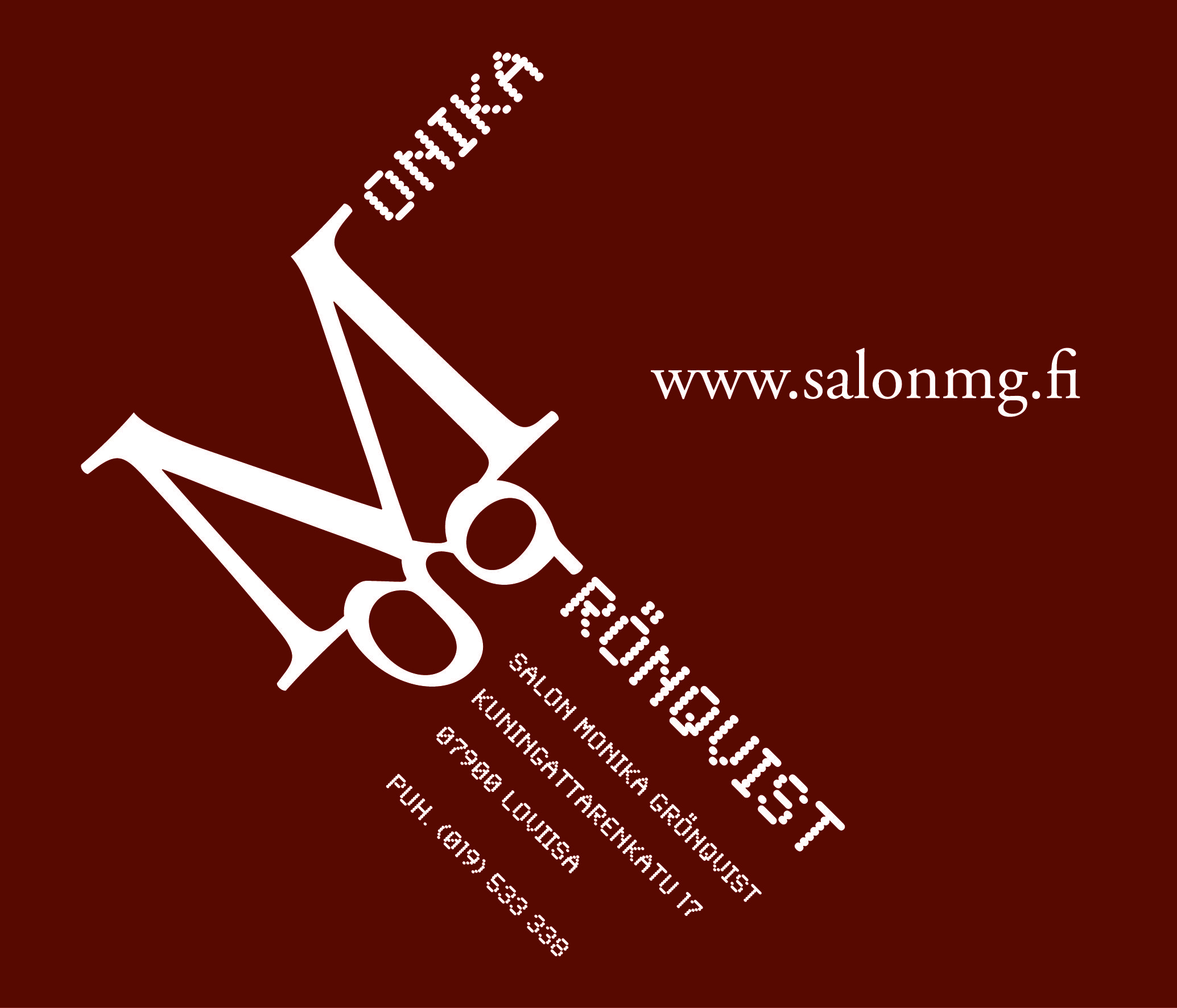 Freelancer-projekti: Salon Monika Grönqvist. Logon suunnittelu. © Natasha Design Tmi, 2010. – http://www.salonmg.fi/