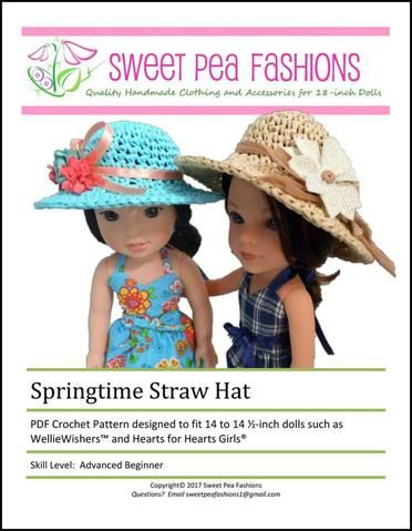 Springtime Straw Hat Crochet Pattern For 14 145 Dolls