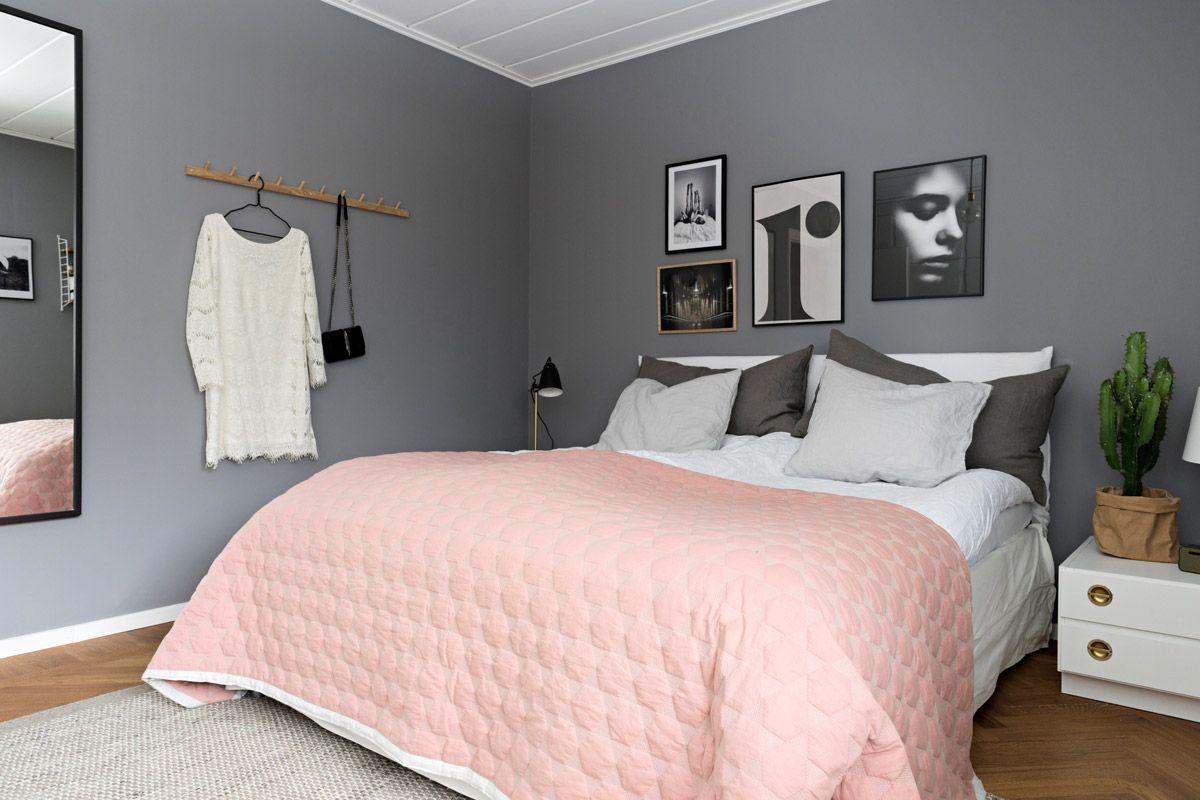 Schlafzimmer Farblich Gestalten Grau  Rosa  Wandfarbe