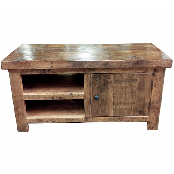 English Beam 1 Door Reclaimed Wood TV Stand | Reclaimed wood tv ...