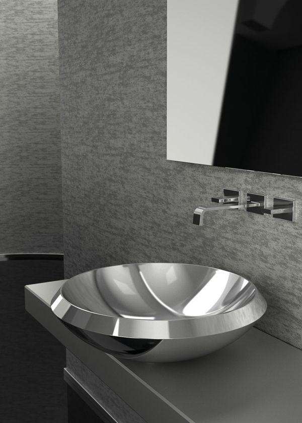 Silberne Waschbecken aus Metall sind eine glänzende Alternative zu - alternative zu fliesen in der küche