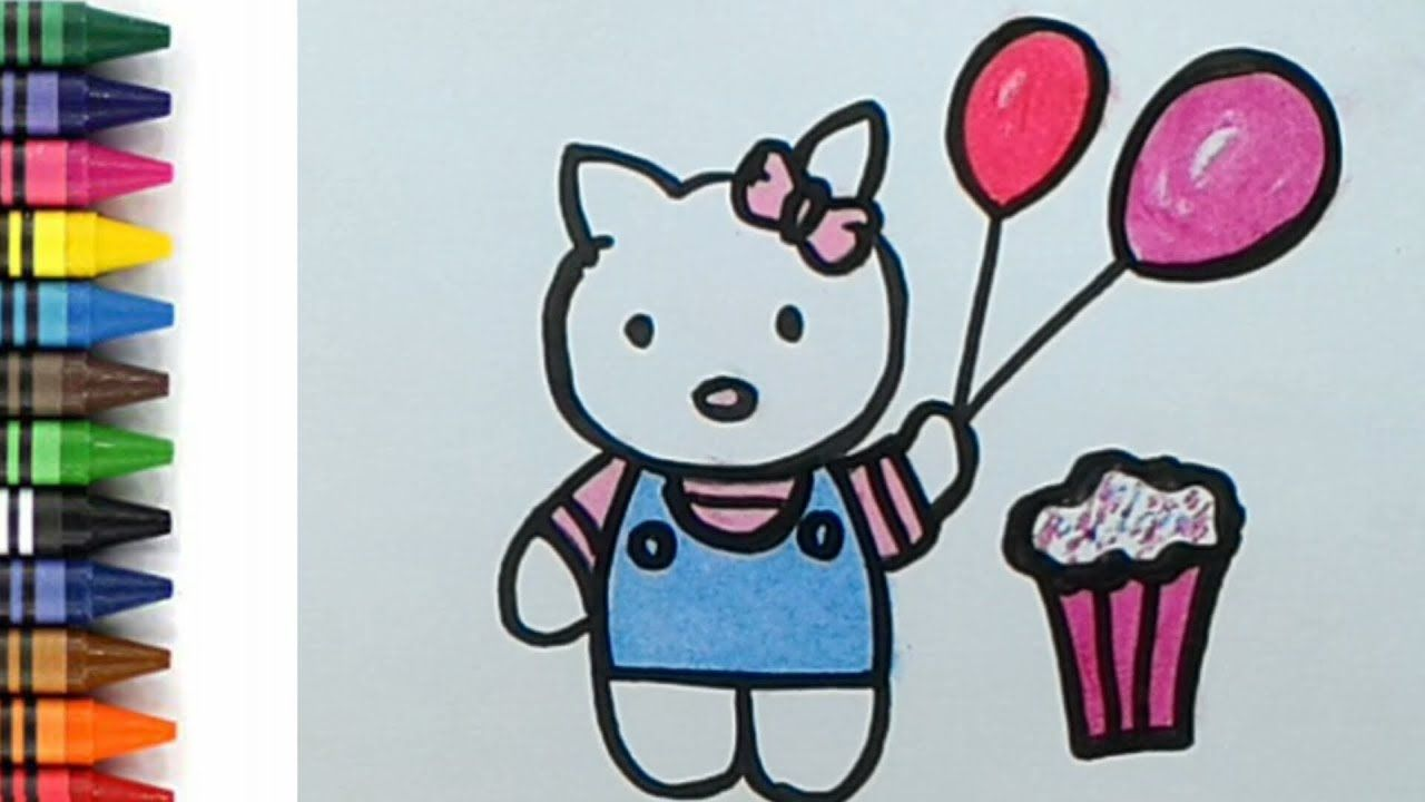 Cara Menggambar Dan Mewarnai Hello Kitty Bawa Balon Untuk Anak Tk Seni Gambar Seni Lukis