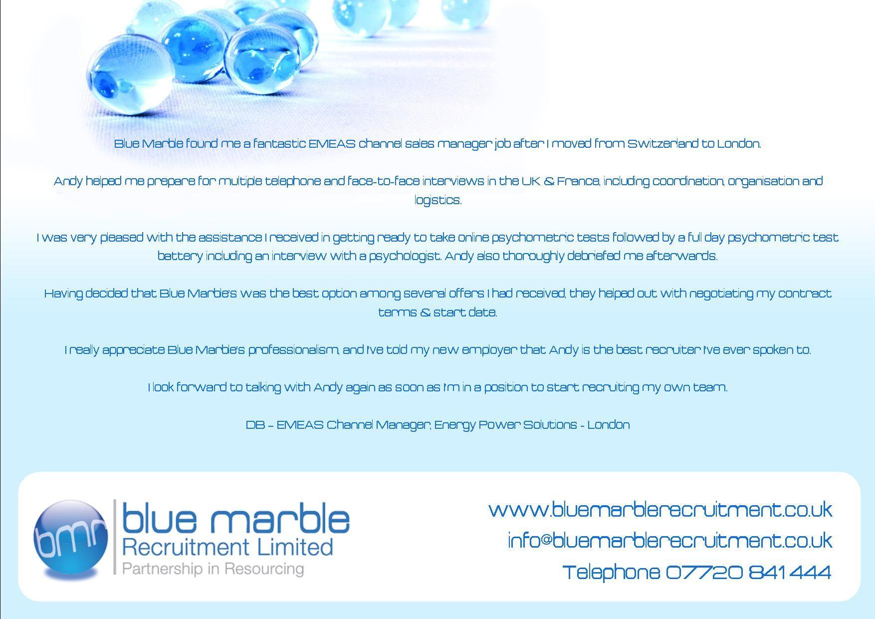 Blue Marble found me a fantastic EMEAS channel sales