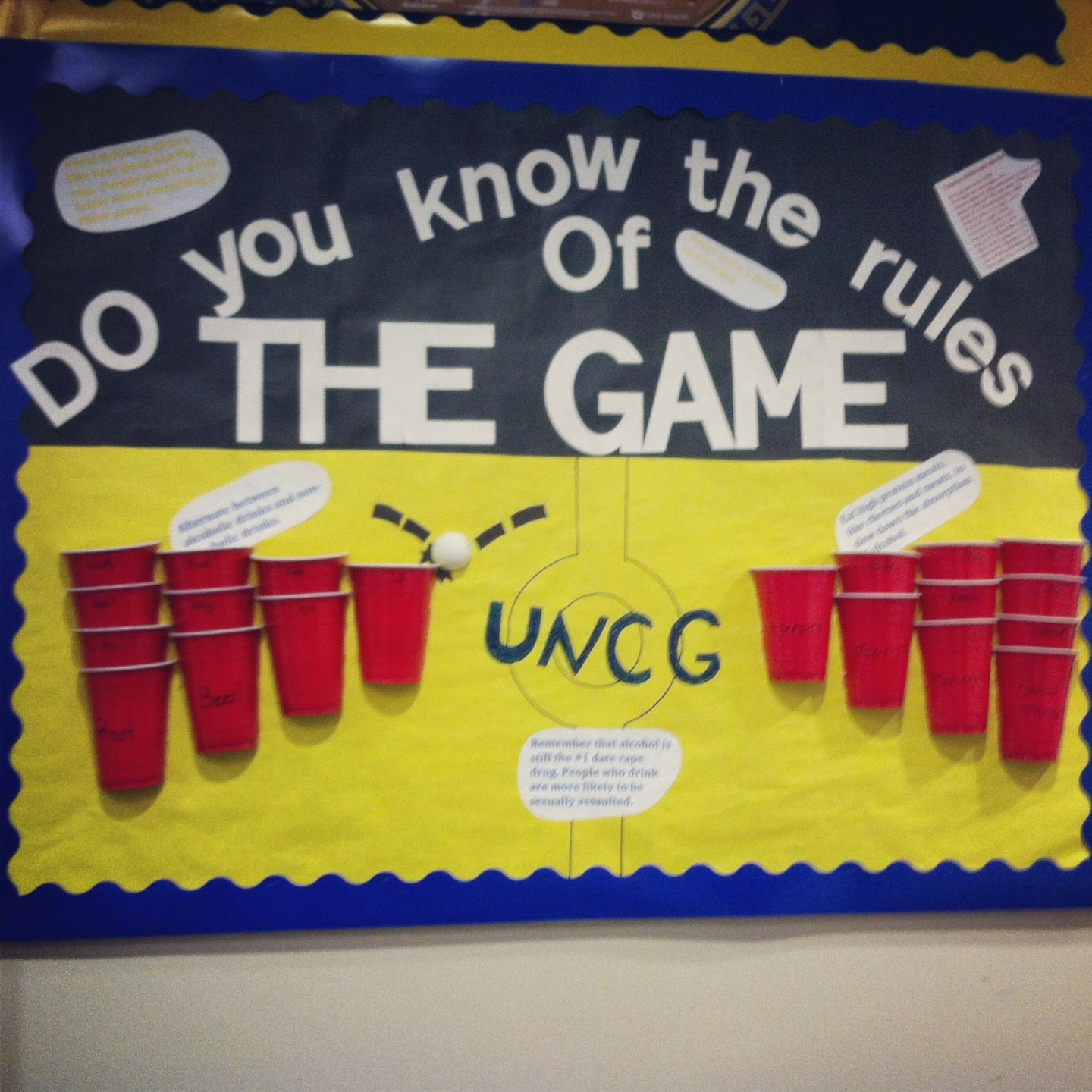 3- Beer Pong With Alcohol Education. #bulletinboard #