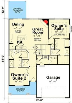 Plan 58566sv Dual Master Suites Master Suite Floor Plan Bedroom Floor Plans Bedroom House Plans
