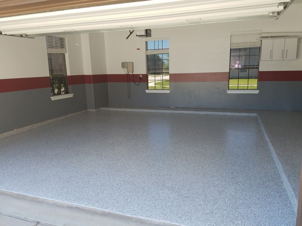 2 Car Garage With Epoxy Floor Coating Recessed Lighting And Custom Paint Recessed Lighting Cool Garages Epoxy Floor Coating
