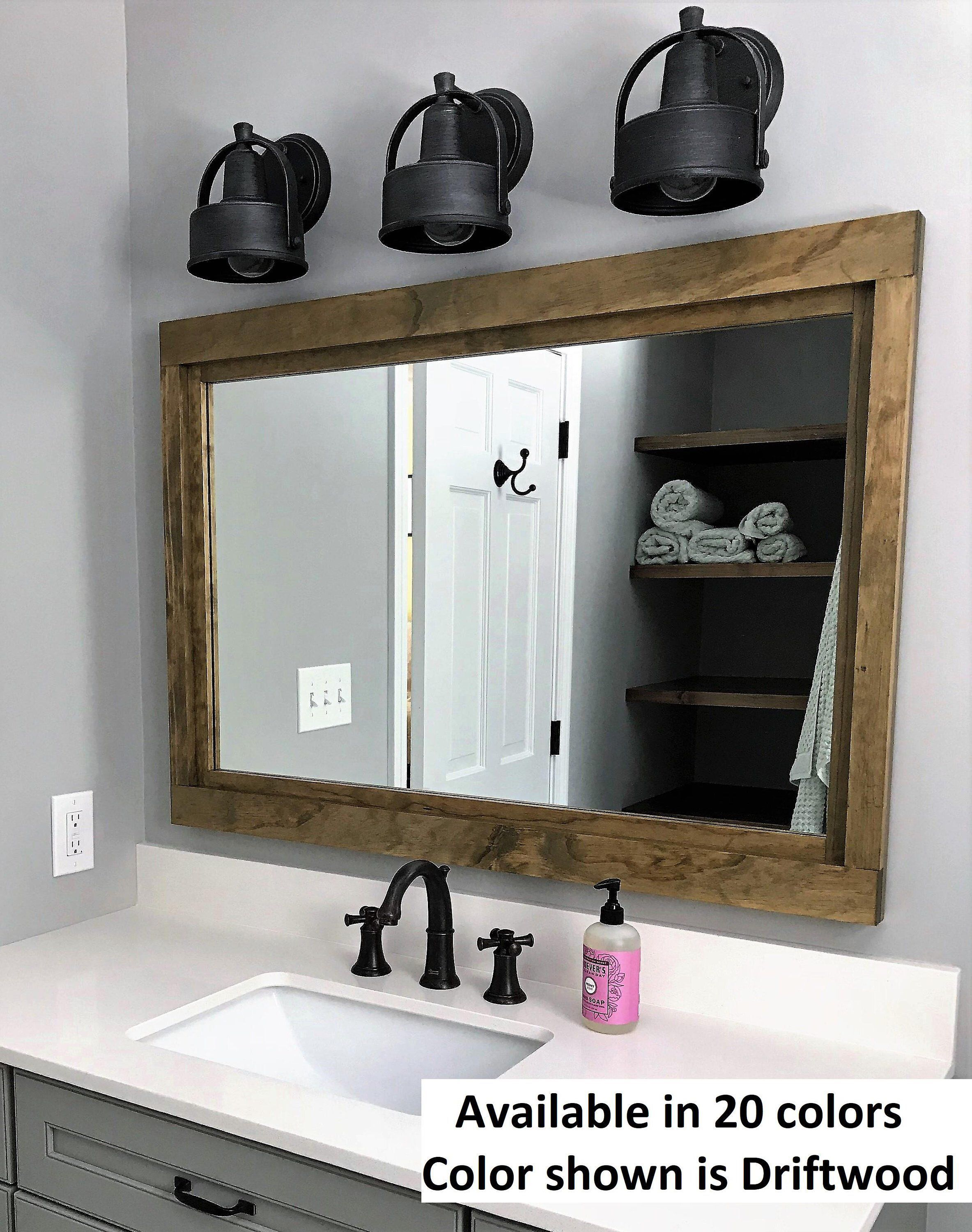Herringbone Reclaimed Wood Framed Mirror Bathroom Vanity Mirror Rustic Bathroom Decor Available In 4 Sizes And 20 Stain Colors Shown In Driftwood Wall Mirror Cisne Com Pe