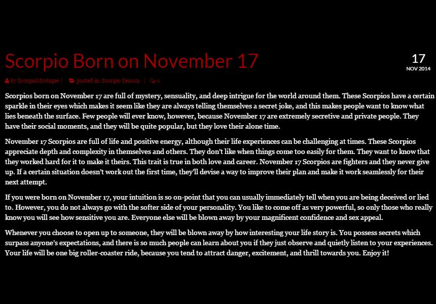 scorpio horoscope november 17