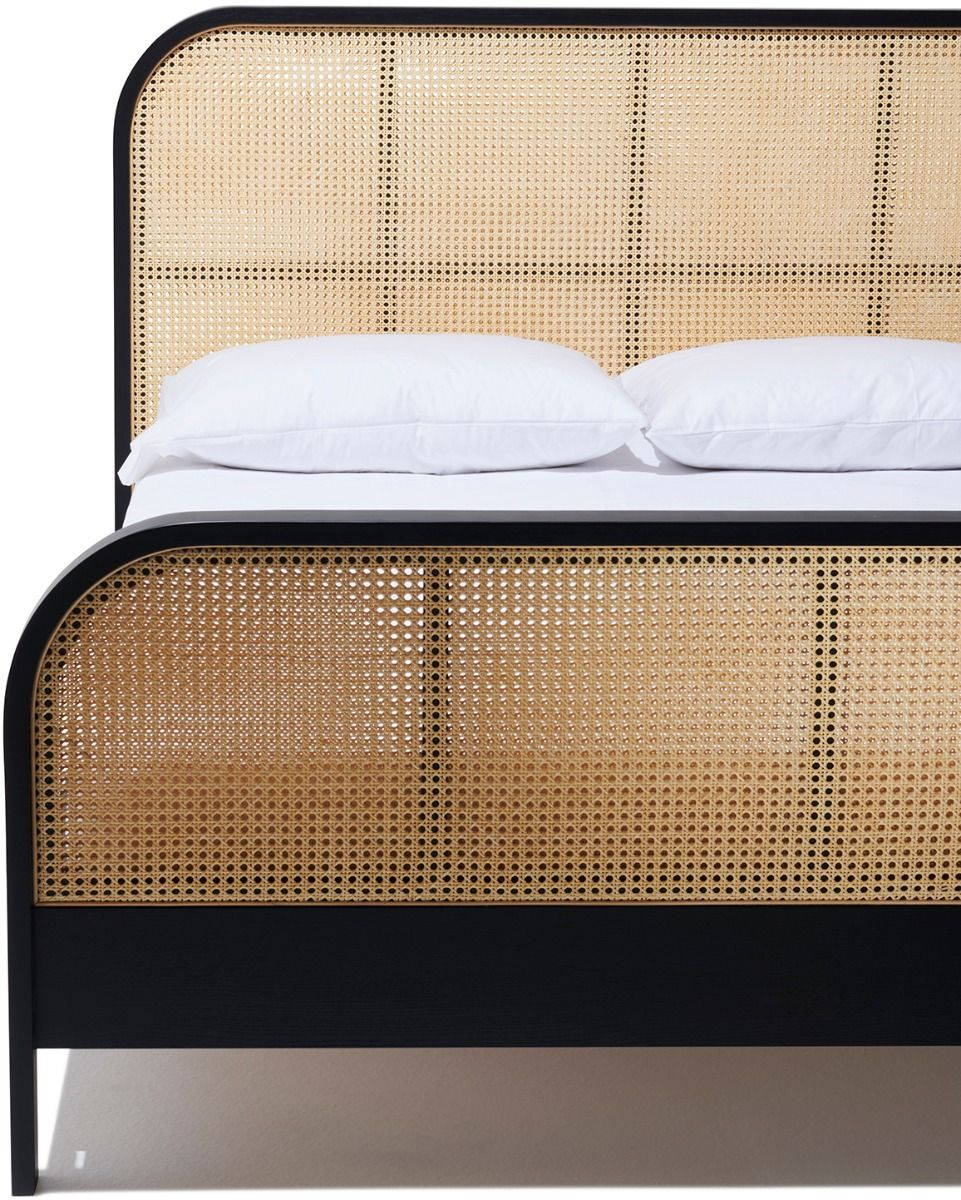 Cane Queen Bed In 2020 Rattan Headboard Black Bedding Cane Bed