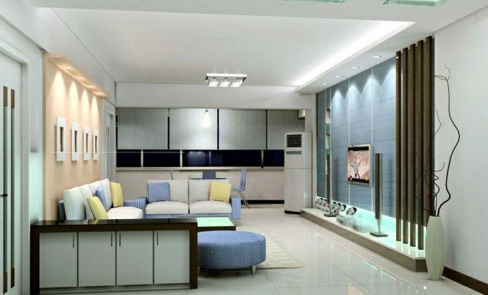 GroB Wohnzimmer Gestalten Wohnzimmer Einrichten Wandpaneele Tv Wand Fernsehwand  In Blau