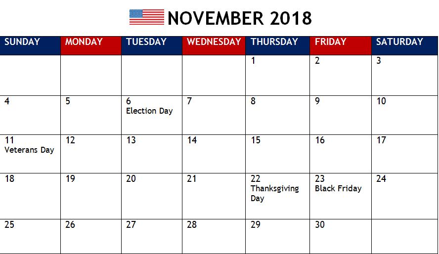 November 2018 Calendar Usa Holiday Calendar Uk Holiday Calendar 2018 Holiday Calendar