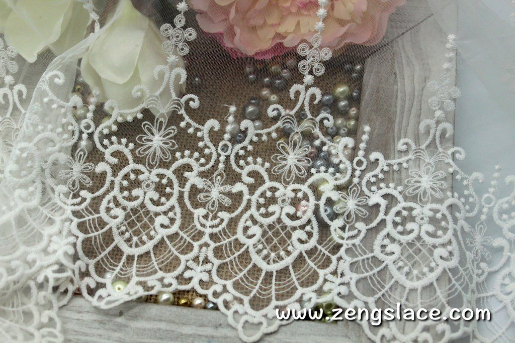 Off White Wide Mesh Lace Trim With Victorian Pattern Embroidery And