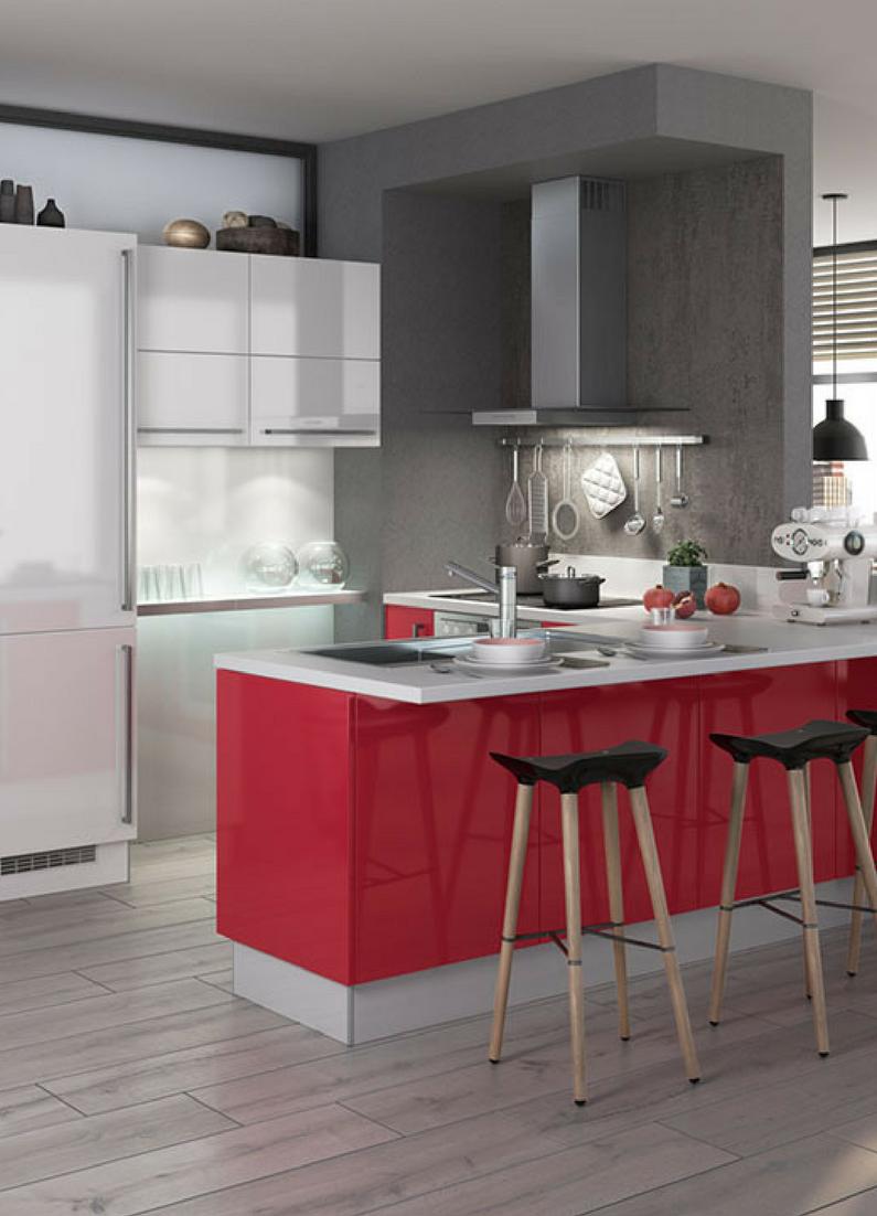farbige hochglanz kuchen, farbgestaltung der küche: bilder und ideen für farbige küchen, Design ideen