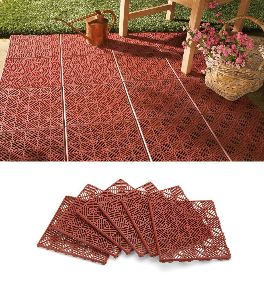 Amazon collections etc 6pc interlocking outdoor patio amazon collections etc 6pc interlocking outdoor patio flooring tile set decorative dailygadgetfo Images