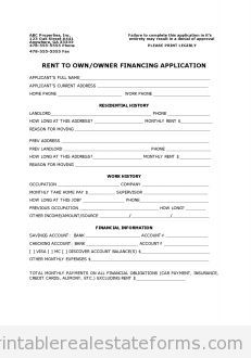 Free Rental  Owner Finance Application Printable Real Estate