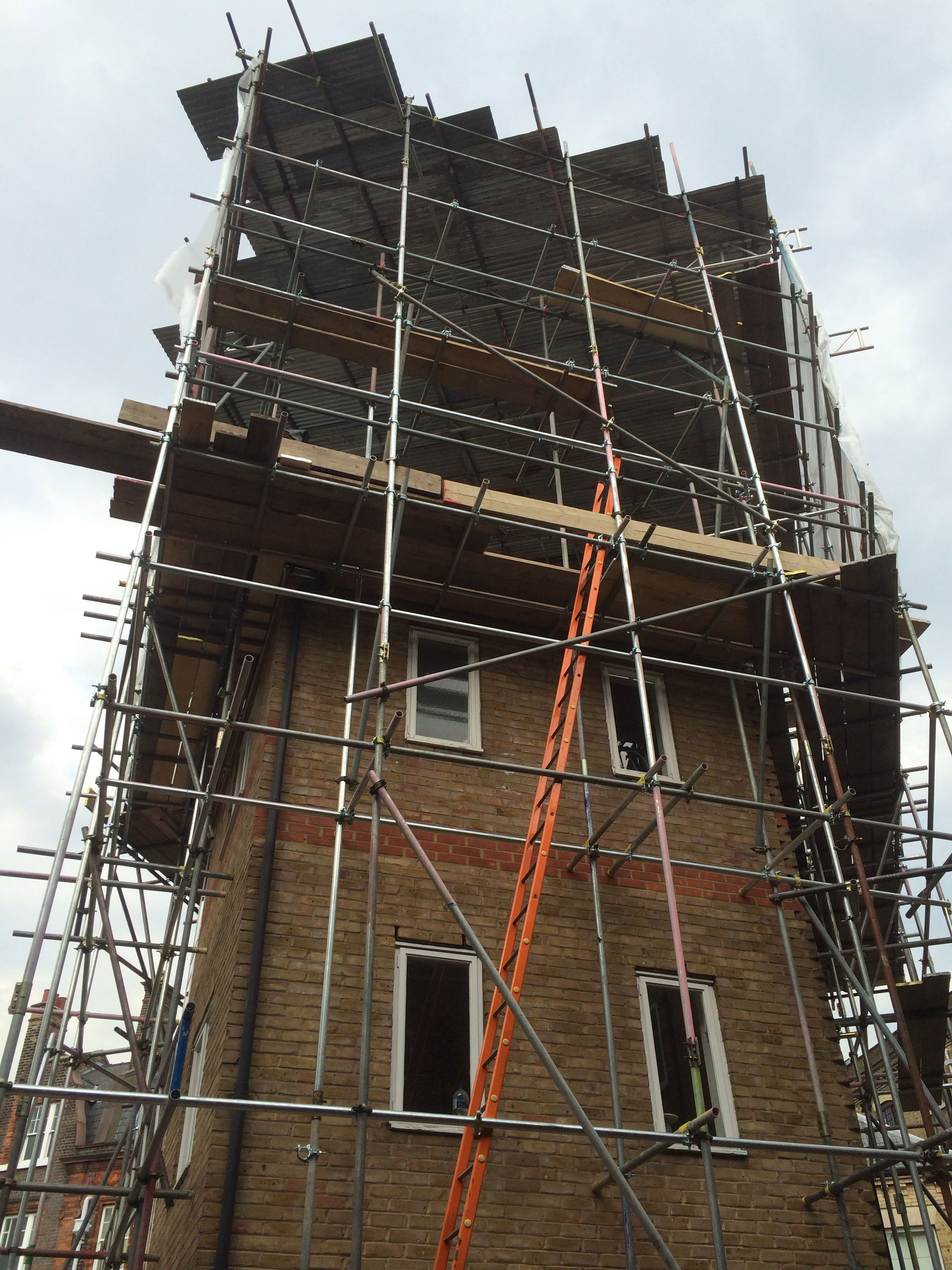 Tall scaffolding