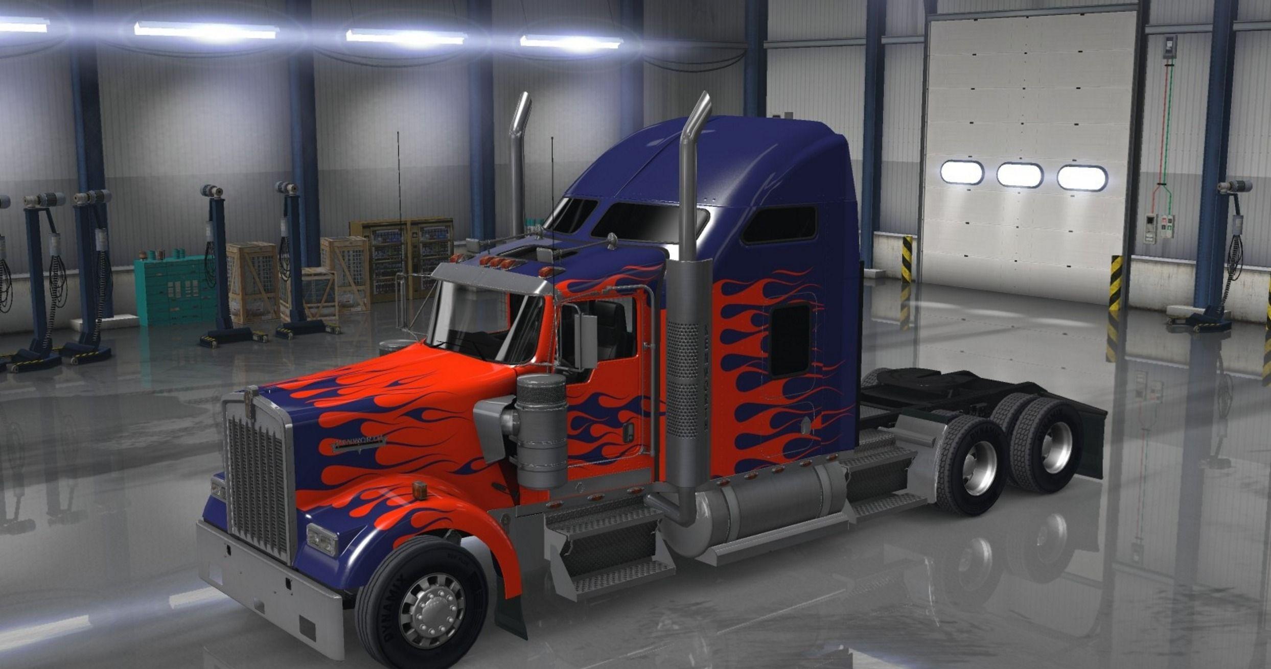 Kenworth w900 with optimus prime paint job