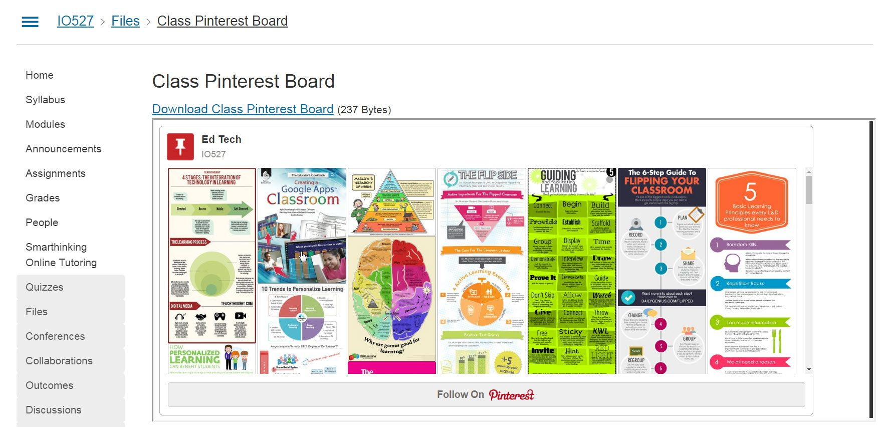 How I integrated a pinterest board in my class Canvas