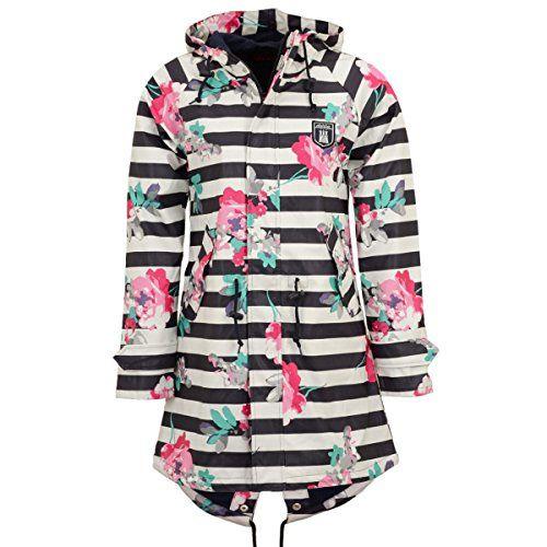 54e3f91994bce9 Derbe Damen Regenjacke Travel Friese Flower blau weiss gestreift Regenmantel  - 34. #apparel #