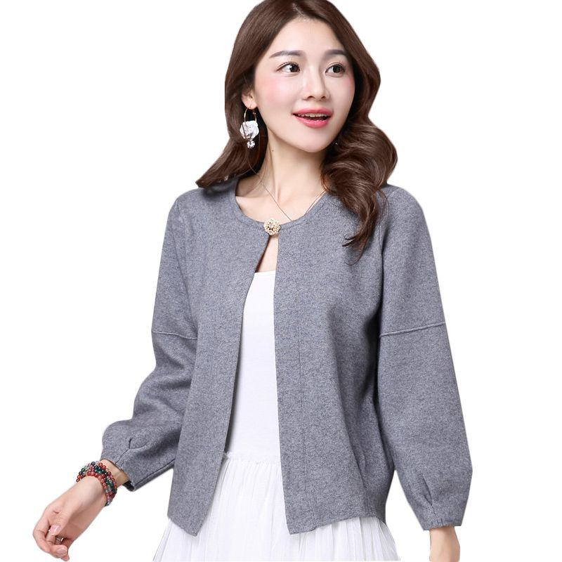 2017 women spring knitted cardigan cropped sweater Ladies Slim ...
