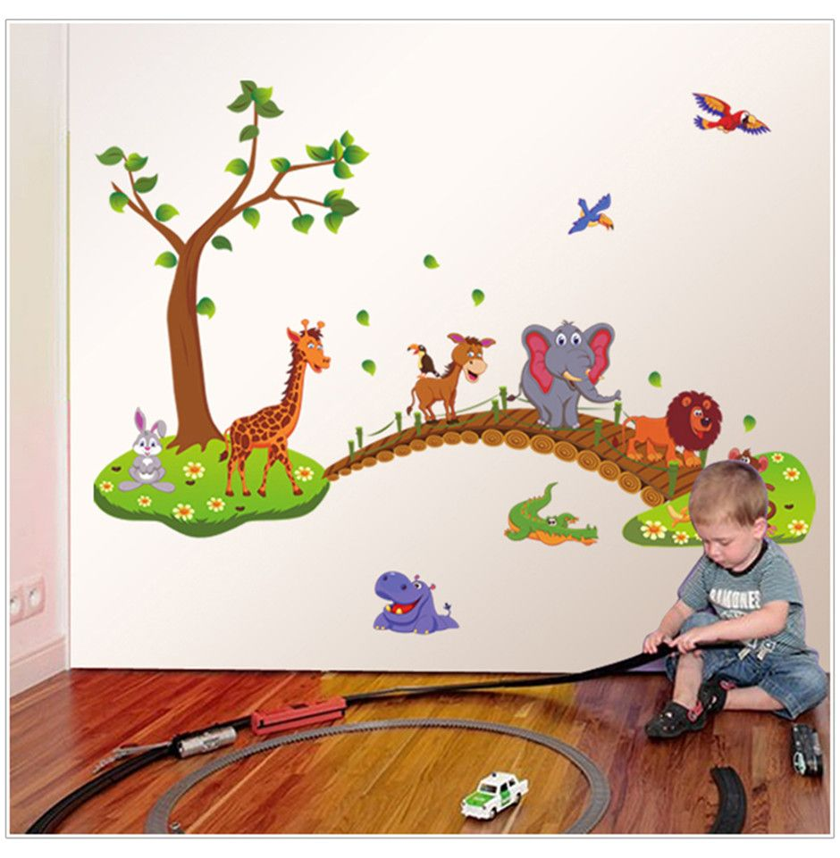 New removable eco cute cartoon animals tree wall decals children new removable eco cute cartoon animals tree wall decals children bedroom room decor wall stickers removable amipublicfo Choice Image