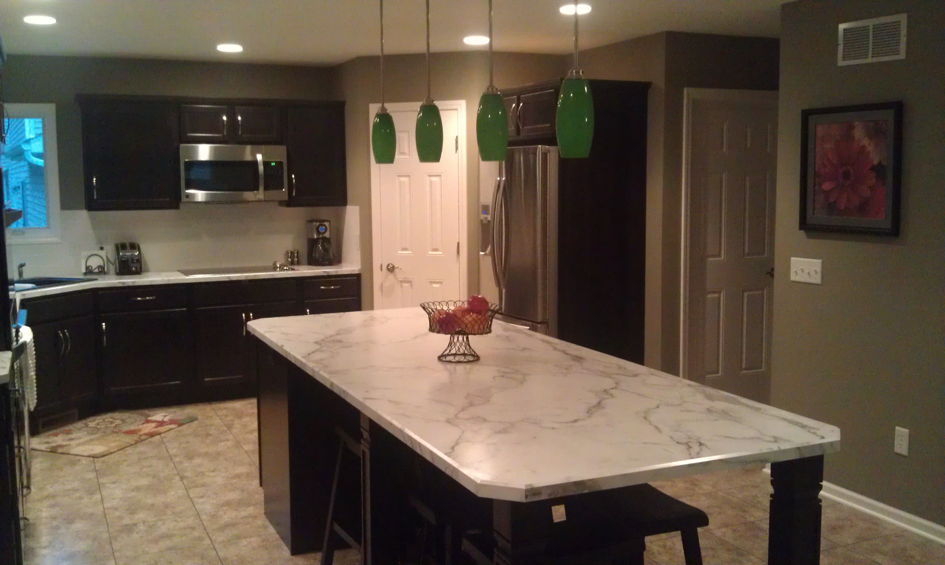 Superieur New Construction Kitchen With Java Maple Cabinets And Calacatta Marble  Formica Tops [Copper River Cabinet