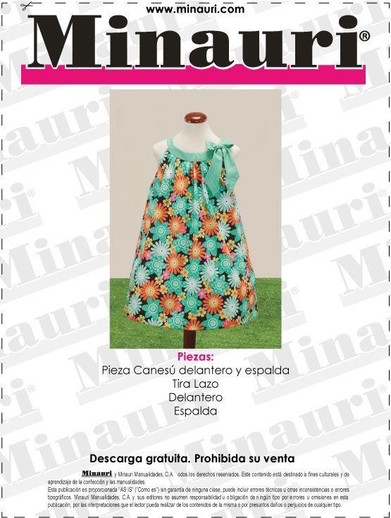 Hermoso Vestido de Niña!! #Descarga #Gratis (molde): www.minauri.com ...