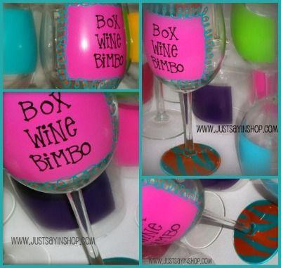 Box Wine Bimbo!  Hand Painted!  www.justsayinshop.com