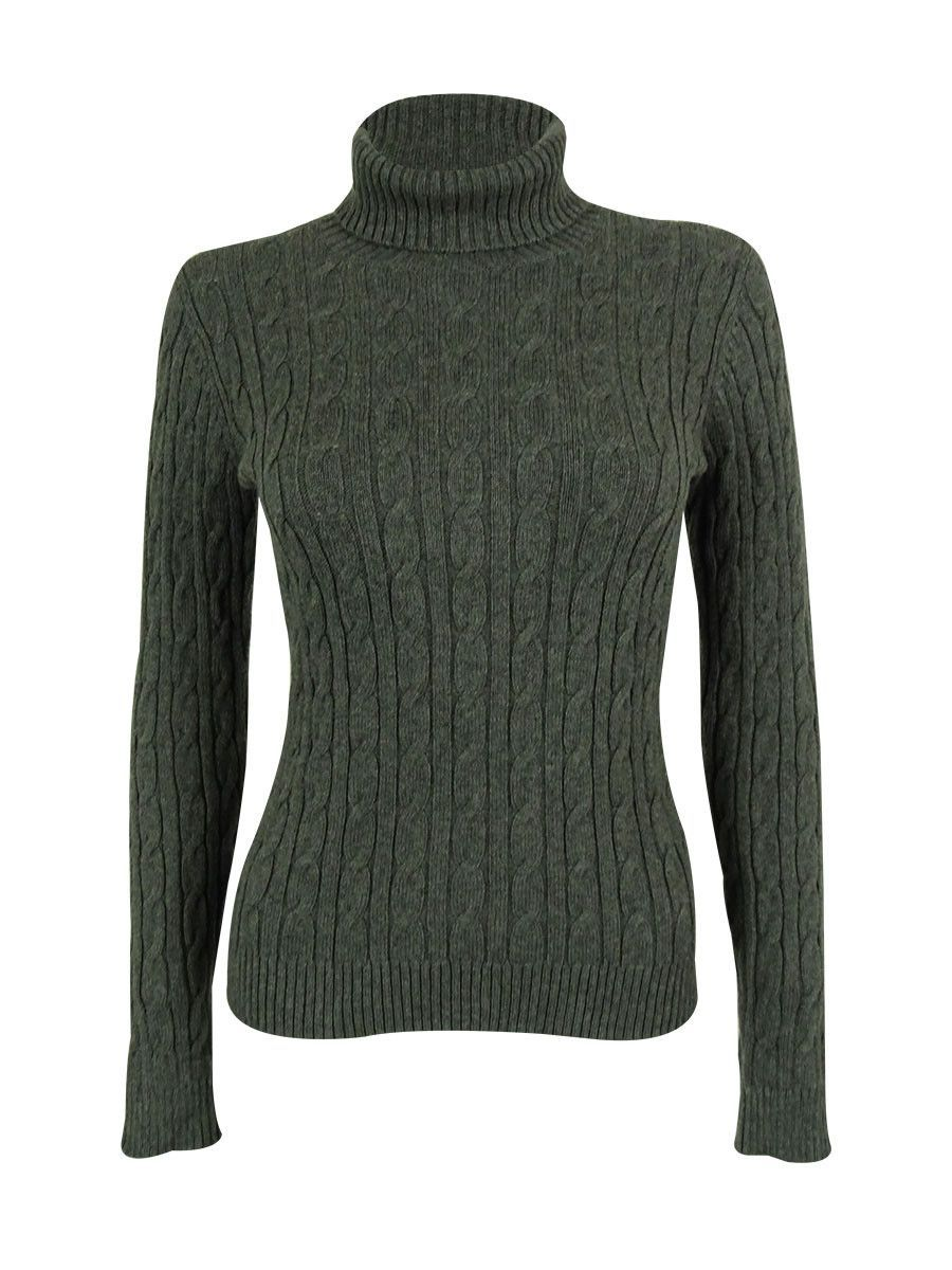 Charter Club Women's Cotton Cable Turtleneck Sweater | Products ...