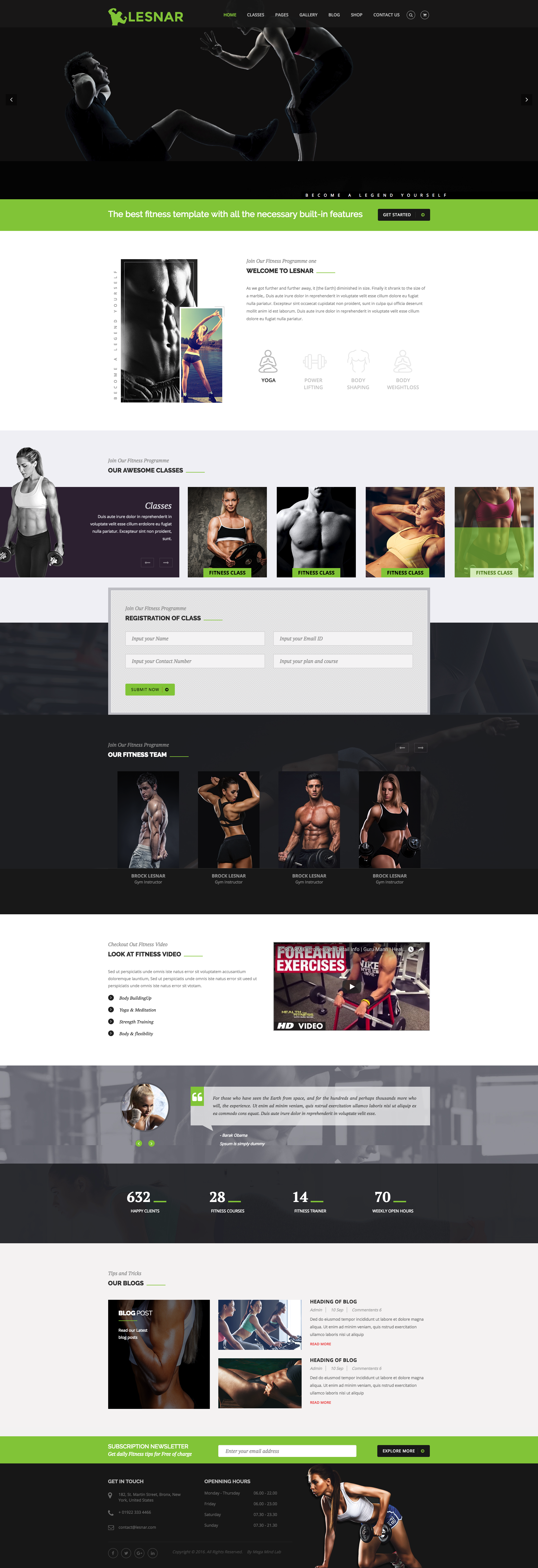 Lesnar Gym / Fitness HTML5 Template. With more than 25 HTML file ...