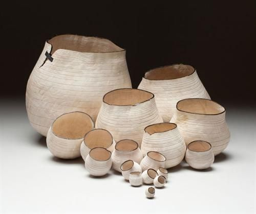 Christian Burchard White Baskets, 2013 bleached madrone burl wood 9 x 18 x 18 inches
