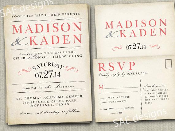 Navy And Peach Wedding Invitations: Wedding Invitation Invitations Invite Invites Announcement